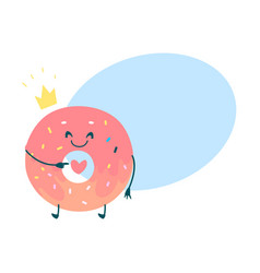 sweet humanized pink donut character vector image