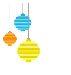 three pixel art christmas tree ball vector image