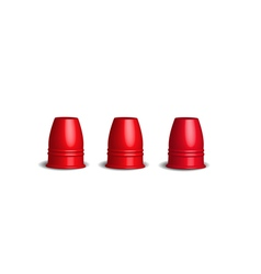 Three red stainless cups Magic cup game vector image
