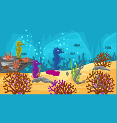 Underwater scene with cute sea horses vector