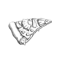 Vegetarian italian slice pizza hand drawn vector