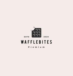 Waffle bites logo hipster retro vintage icon vector