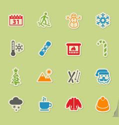 Winter icon set vector