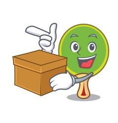 With box ping pong racket character cartoon vector