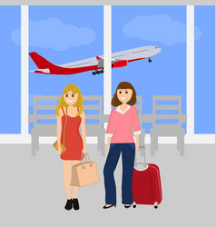 Women tourists at international airport vector
