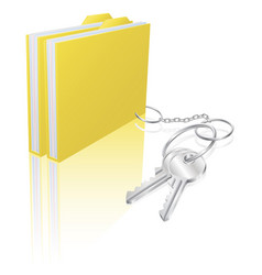 Computer file keys document security concept vector