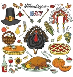 Thanksgiving dayDoodle icons colorful set vector image
