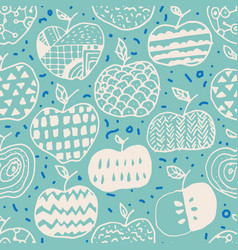Apple doodle seamless pattern vector