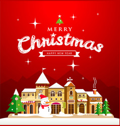 christmas greeting card red background vector image