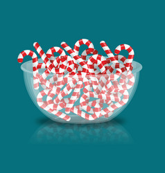 mint christmas candy in bowl peppermint stick vector image