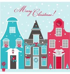 Retro Christmas Invitation Card - Christmas Houses vector image vector image