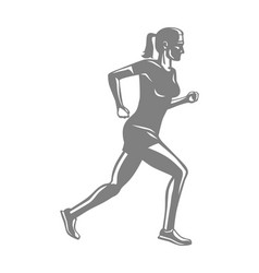 silhouette of sportive running woman on white vector image vector image