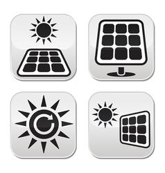 Solar panels solar energy white buttons set vector image
