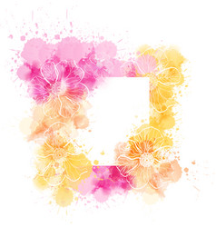 watercolor template with flowers vector image vector image