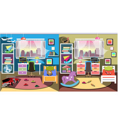 boy and girl room set vector image vector image