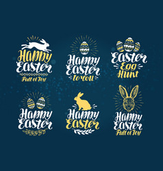 easter label set handwritten beautiful lettering vector image