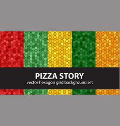 Hexagon pattern set pizza story seamless vector