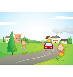 kids a car and a road vector image vector image