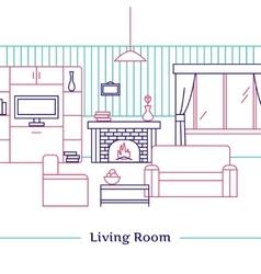 Living Room Line Design vector image vector image
