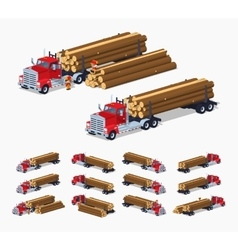 Log truck with the pile of logs vector image vector image