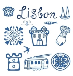 Stylish Portugal typical icons collection vector image vector image