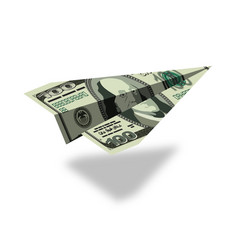 aircraft dollars money banknote paper airplane vector image