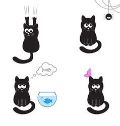 Black cat collection vector image vector image