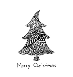Greeting card with hand drawn Christmas tree vector image vector image