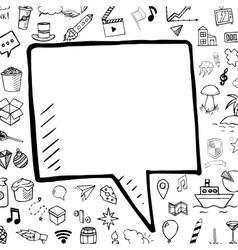 hand drawn bubble speech doodle vector image vector image