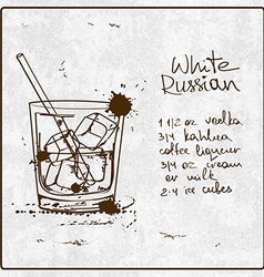 Hand drawn White Russian cocktail vector image vector image