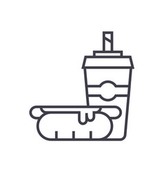 hot dog with coffee cupfast food line icon vector image