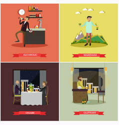 set of bad habits concept posters in flat vector image vector image