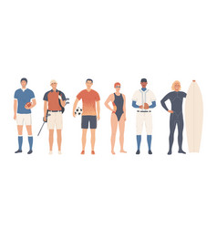 a group sportsmen team and individual sports vector image