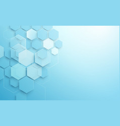 abstract blue geometric hexagon shape vector image