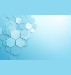Abstract blue geometric hexagon shape vector