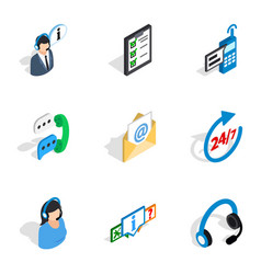 All day customer support icons isometric 3d style vector