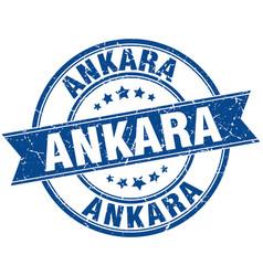 Ankara blue round grunge vintage ribbon stamp vector