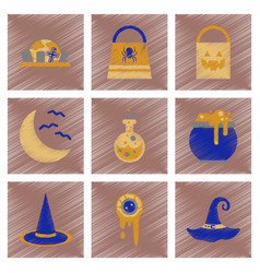 Assembly flat shading style icons halloween bag vector