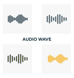 audio wave icon set four elements in diferent vector image
