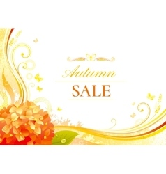 Autumn background with orange hydrangea flower vector