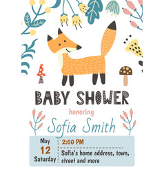 Baby shower invitation template with a cute fox vector