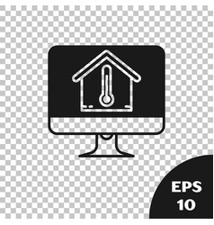 Black computer monitor with house temperature icon vector