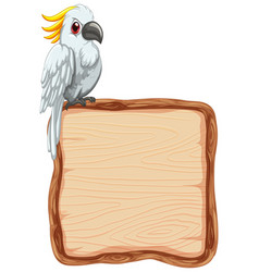 Board template with cute cockatoo on white vector