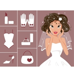bride and wedding accessories vector image