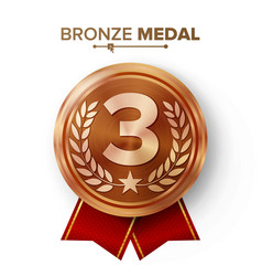 bronze 3st place medal metal realistic vector image