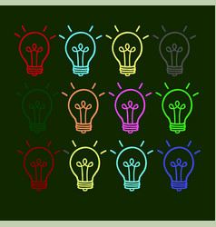 business icon of a light bulb on a green vector image