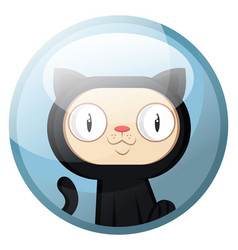 cartoon character of a black cat with white face vector image