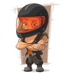 Cartoon cool man in motorcycle helmet vector