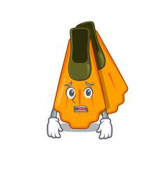 Cartoon image design swim fins showing worried vector