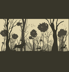 cartoon silhouette deer and hare vector image